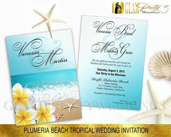 Plumeria Frangipani Beach Wedding Invitation & RSVP card Tropical
