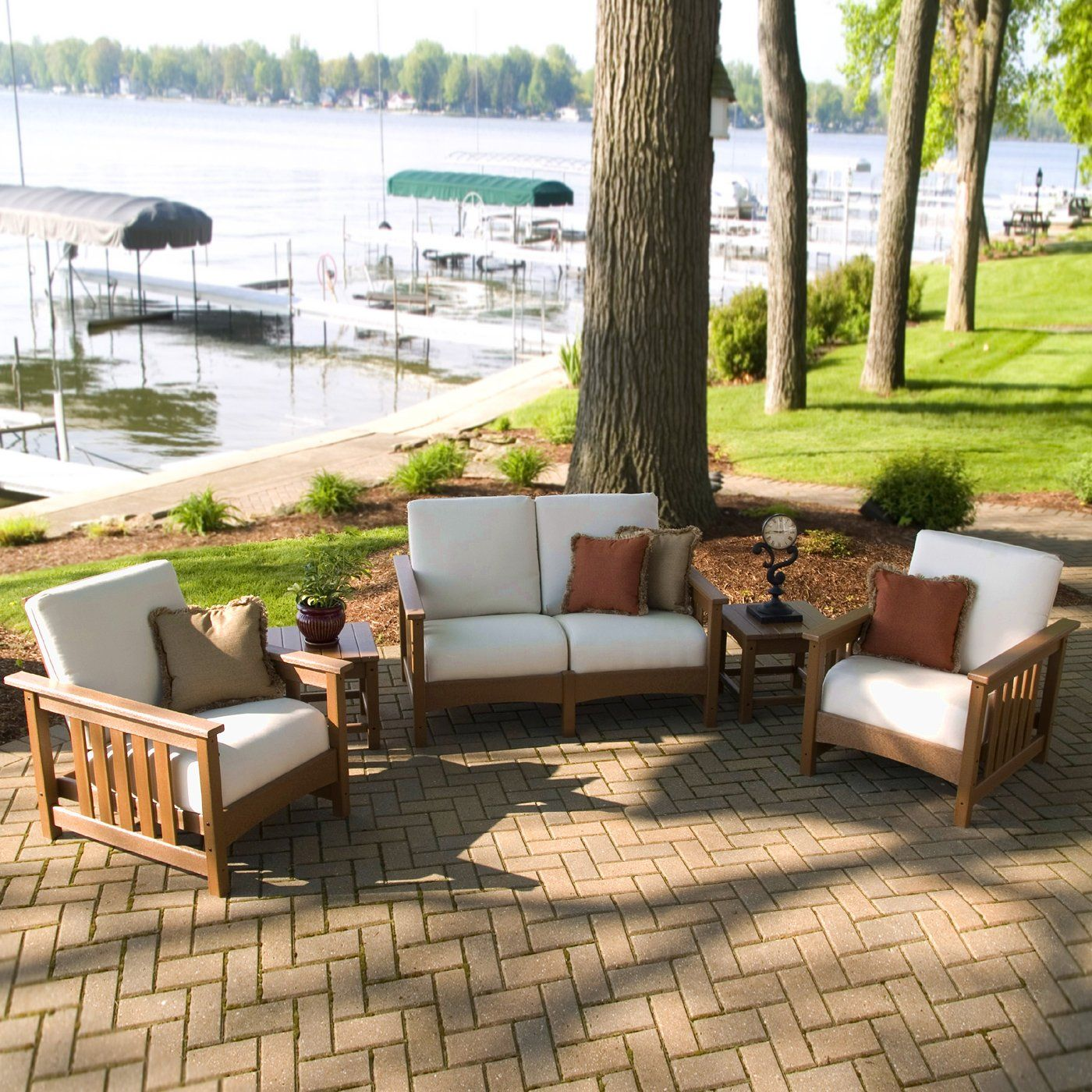 Poly-Wood Deep Seating Club Mission 5 Piece Conversation ... on Fine Living Patio Set id=64171