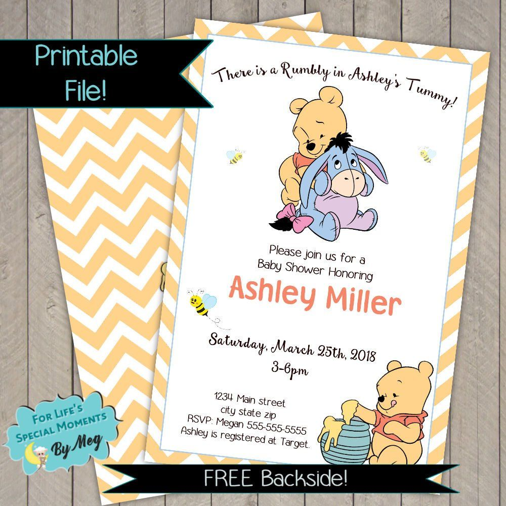 Winnie The Pooh Baby Shower Invitations Pooh Bear And Eeyore Honey And Bumble Bee Custom Chevron Background Gender Nuetral Baby Shower Baby Shower Invitations Shower Invitations Winnie The Pooh