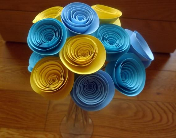 Elegant Paper Flower Arrangement, Medium Handmade Paper Flowers in Blue and Yellow, Paper Flower Cen #paperflowercenterpieces