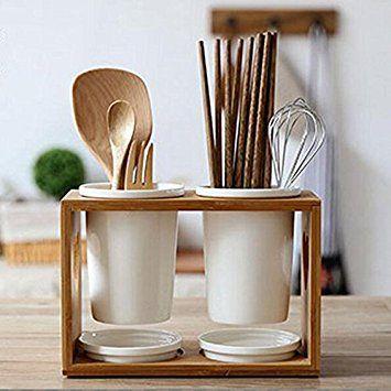 キッチン お箸 スプーン 収納 箸立て 箸ホルダー ウッド 磁器 カトラリーホルダー 箸立て 生活 キッチン
