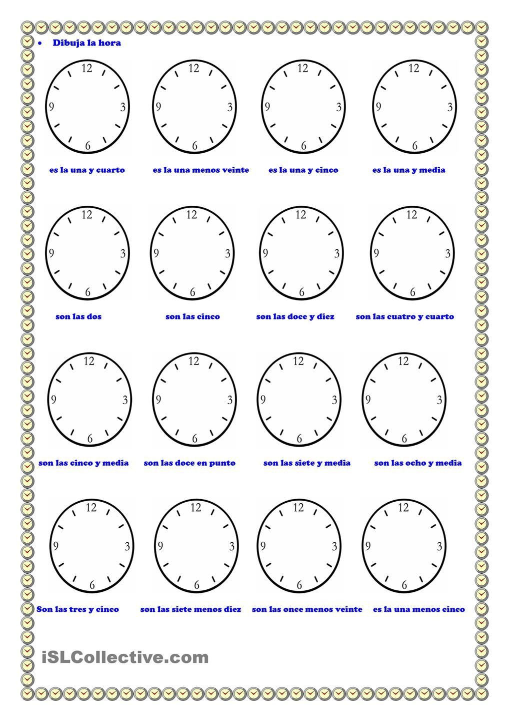 Worksheets La Hora Worksheet la hora hora