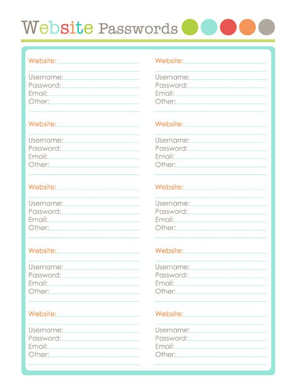 Free Printables To Organize You Blog. Save You Website Passwords