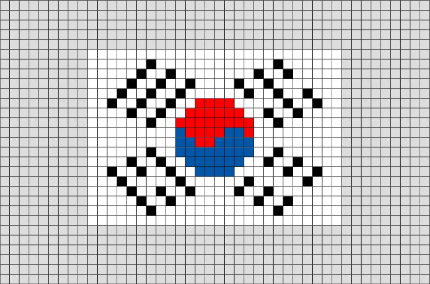 Flag of South Korea Pixel Art   Paper   Pinterest   Banderas, Kpop y ...