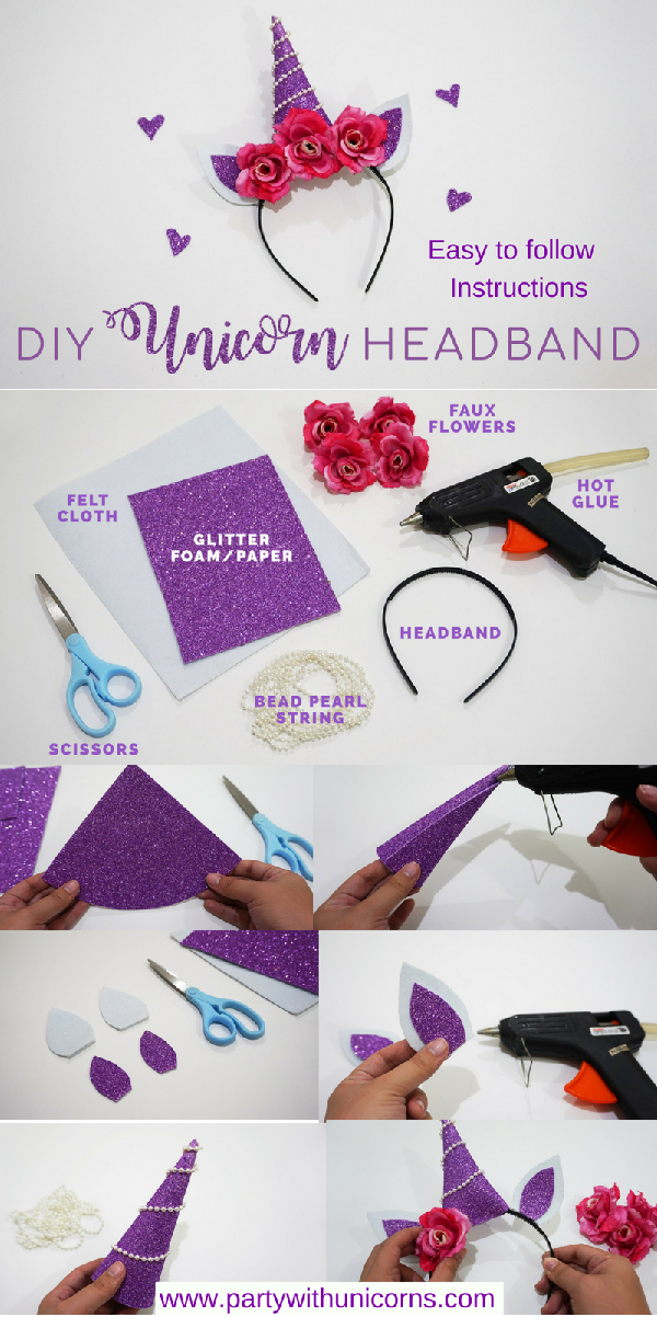 a45ad67c7d8 DIY Unicorn Headbands. Easy to follow step by step instructions to make your  own Unicorn headbands.