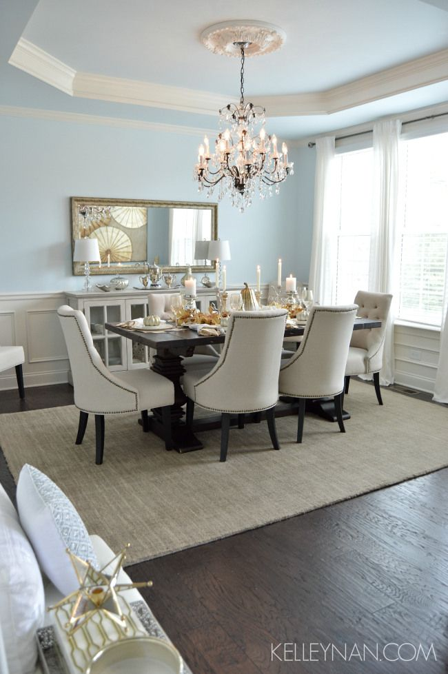 Blue dining room   tray ceiling   fall table   fall ...