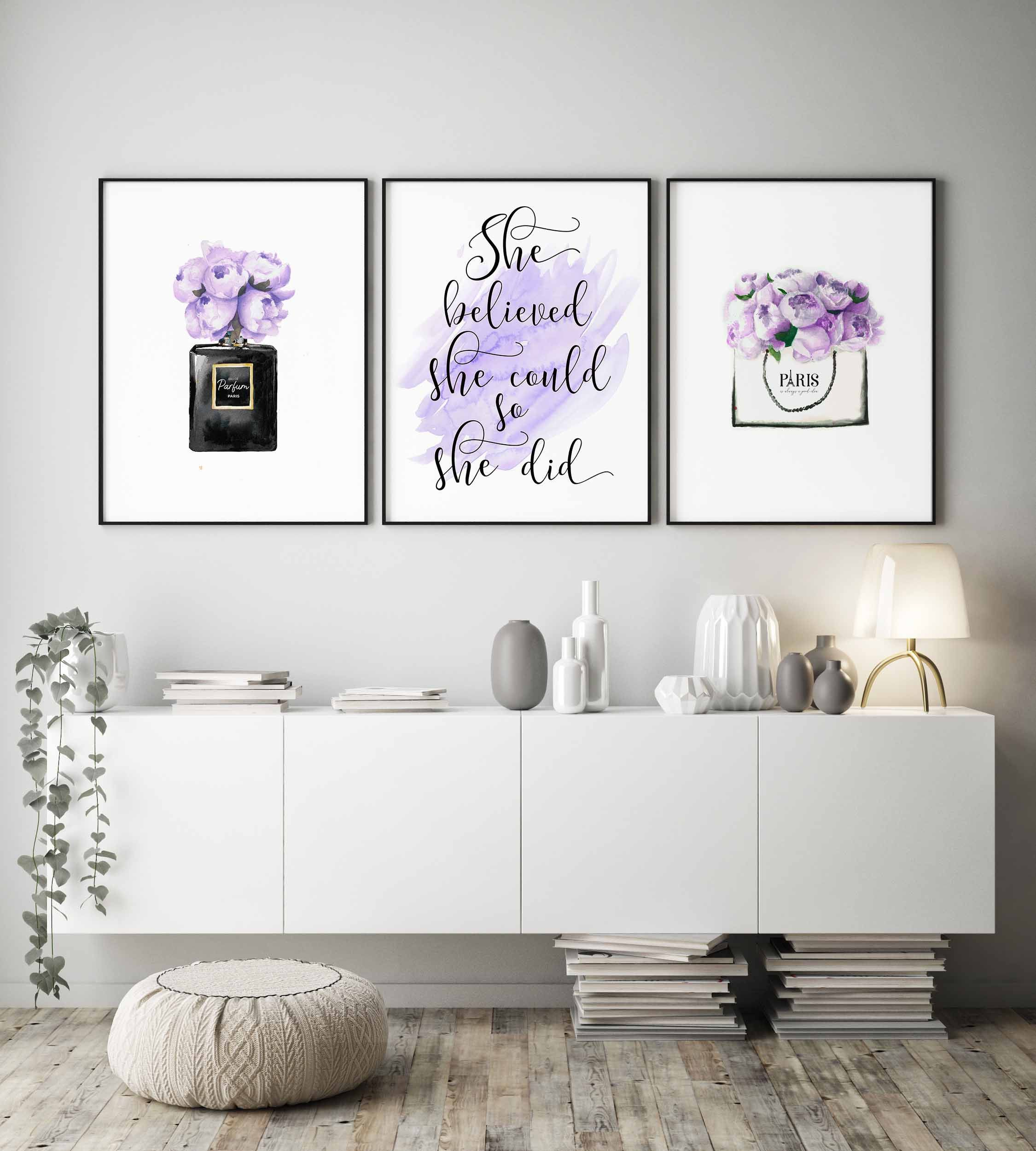 Fashion Wall Artpurple Bedroom Decorpurple Wall Artshe Etsy In 2020 Purple Bedroom Decor Wall Decor Bedroom Girls Bedroom Art