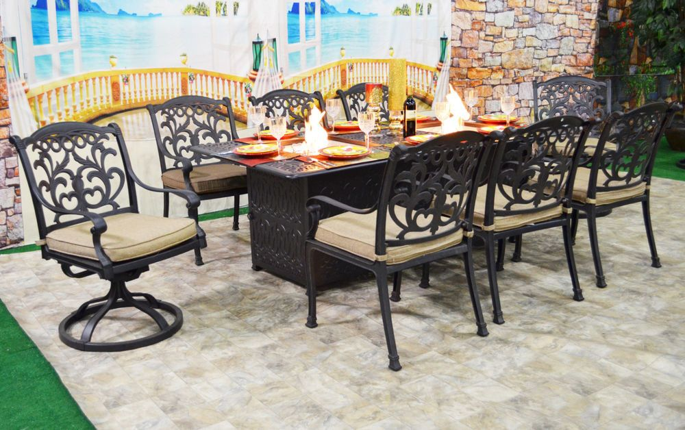 Sensational Fire Pit Dining Table Set Cast Aluminum 9 Piece Propane Home Interior And Landscaping Synyenasavecom