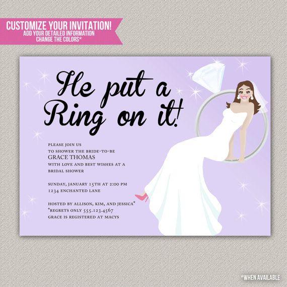 He Put A Ring On It Shower Invitation Custom Bridal Engagement