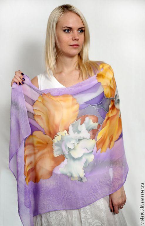 e83c1209b5c5 Купить Палантин Ирисы Palantine Iris - цветы, шарф, ирисы, батик ...