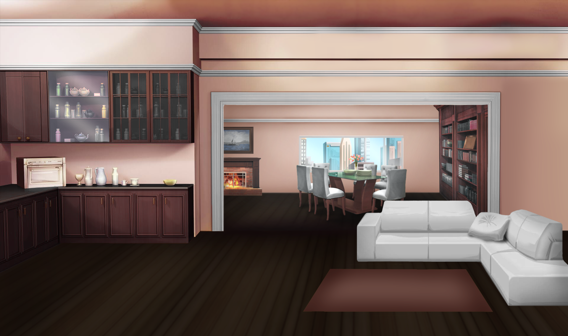 Int Pink And White Open Floor Apartment Day Living Room Background Kitchen Background Anime Background