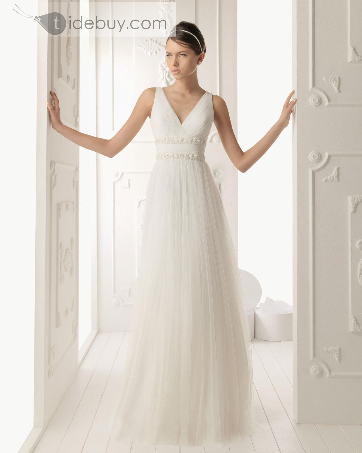 Plain empire vneck court train fashion wedding dress madisonus