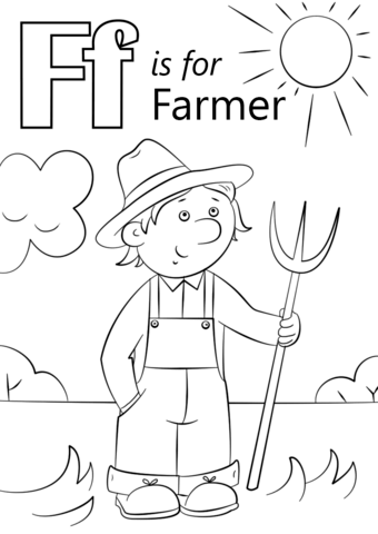Letter F is for Farmer coloring page from Letter F