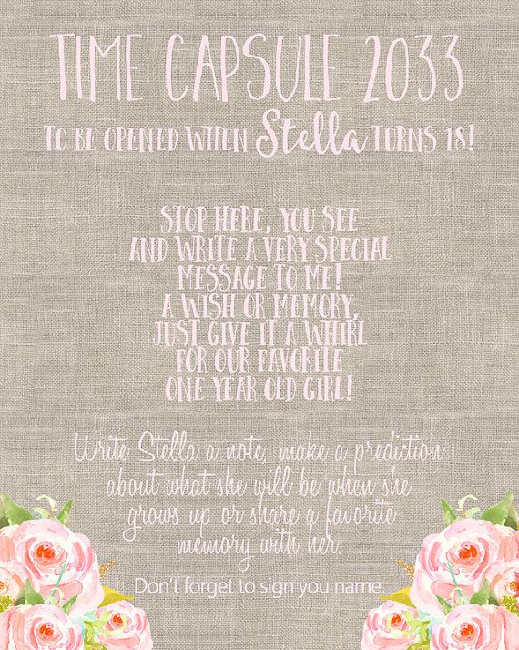 time capsule st birthday time capsule first by blushpartyboutique