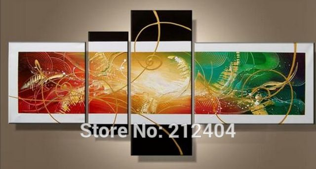 Modern Oil Colorful Paintings Hand-painted Abstract Geometry Canvas Art Home Decor Multi Panel Wall Art
