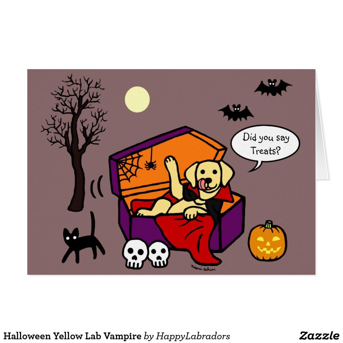 Halloween Yellow Lab Vampire Card Zazzle Com Halloween Chocolate Halloween Halloween Design
