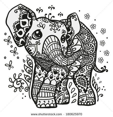 Black and white vector illustration of a baby elephant with ...