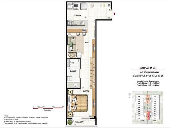 Planta Humanizada do apartamento de 1 quarto,com 39,40 m²