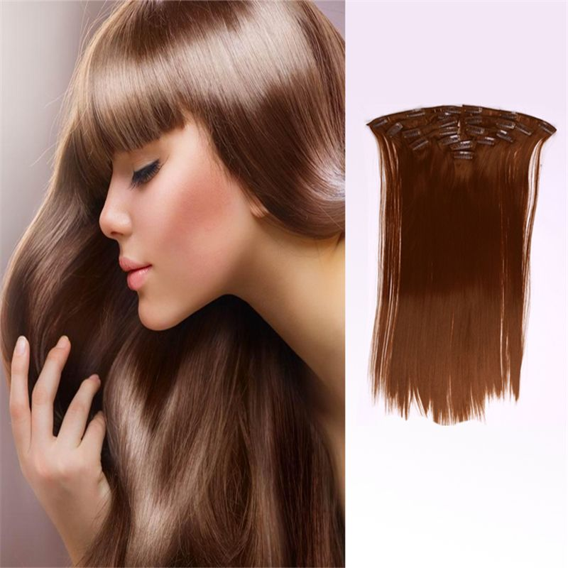 100g 7pcs Set Straight Clip In Hair Extensions False Hair Styling Synthetic Hair Heat Resistant Synthetic Naturel Hairpiece Hair Pieces