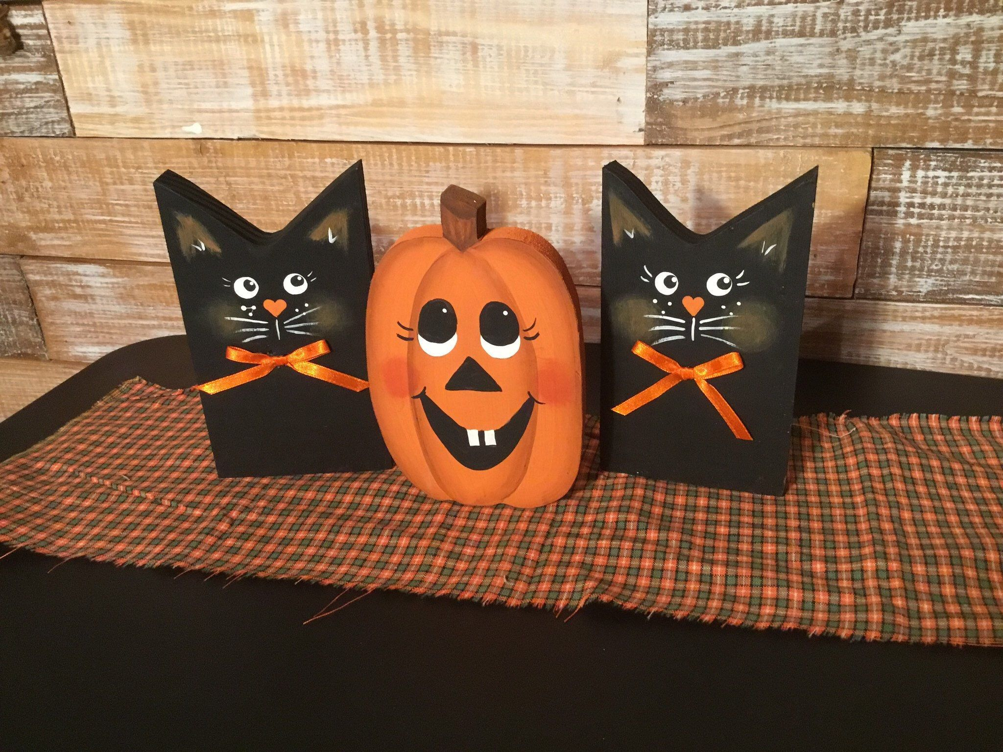 Halloween Cats And Pumpkin Handmade Out Of Wood Creative