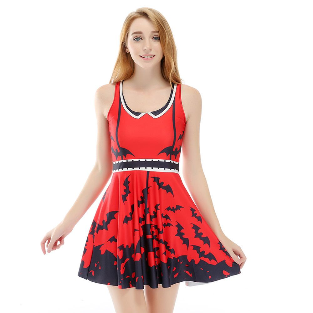 Hot sell women red and black bat digital printed pleated skirt dress