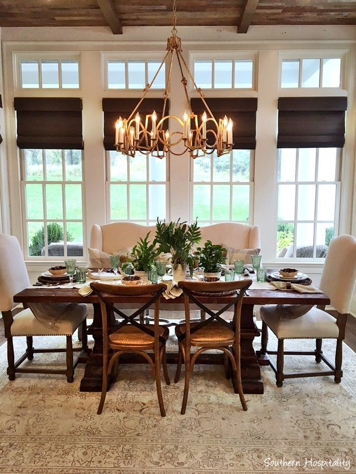 Beautiful dining area using neutrals and gorgeous lighting nashville parage of home tour on southern
