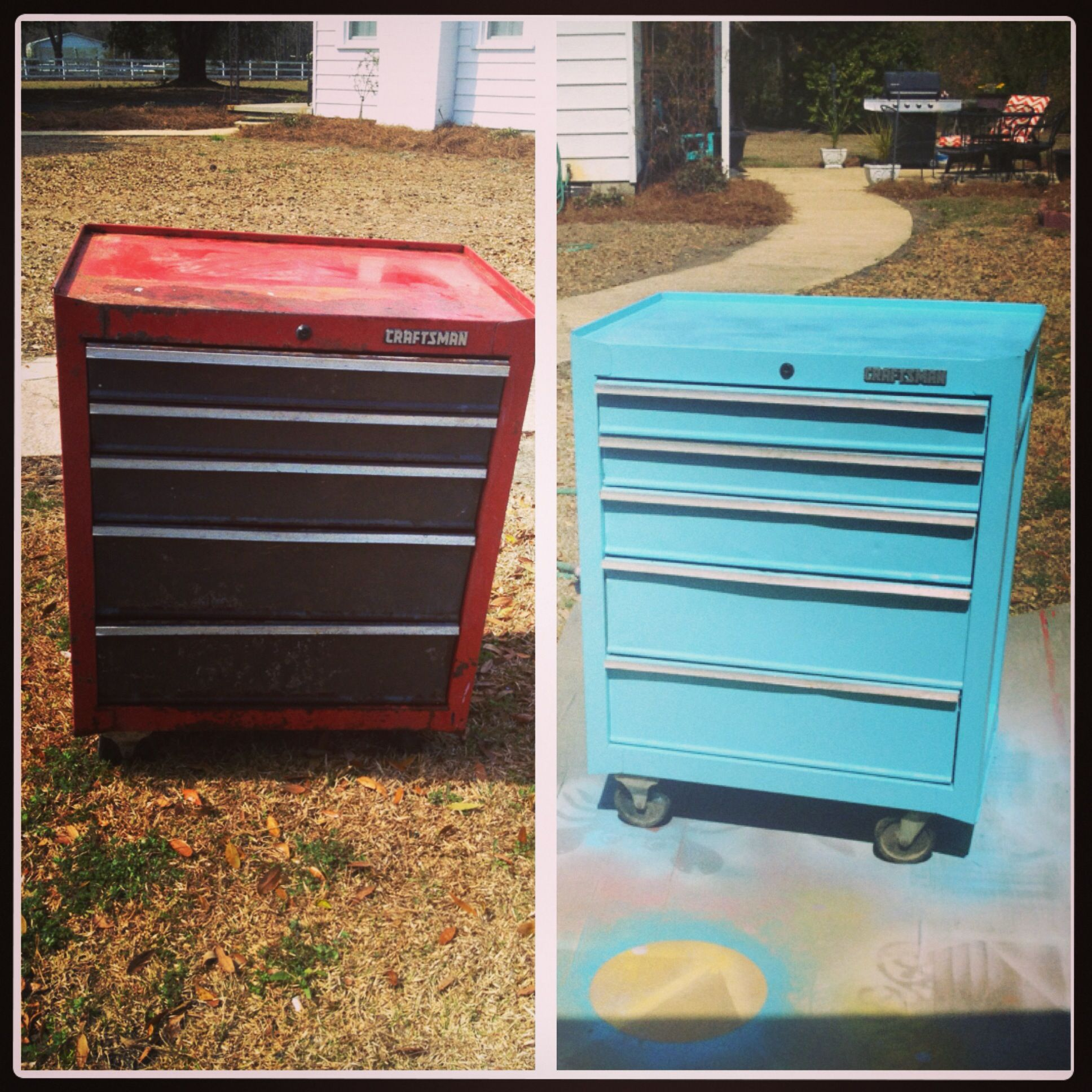 Terrific Craftsman Toolbox Makeover In Tiffany Blue Erras Projects Download Free Architecture Designs Grimeyleaguecom