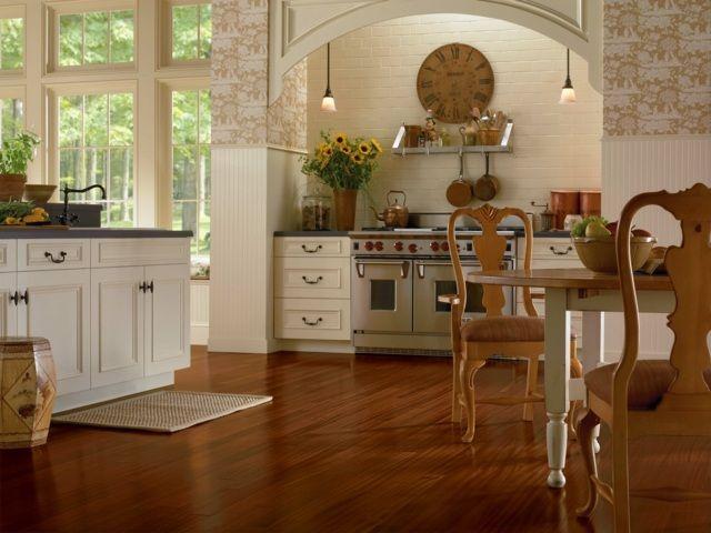 Küche Laminat verlegen Boden rot braune Farbe einrichten - bodenbelag küche vinyl