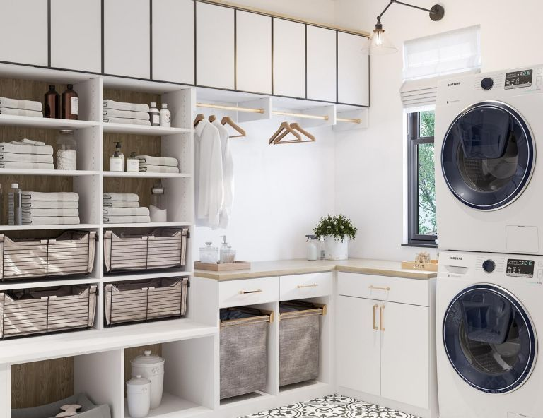 Overhead Chic Laundry Closet Vs Cabinets Sederhana Ide Dan