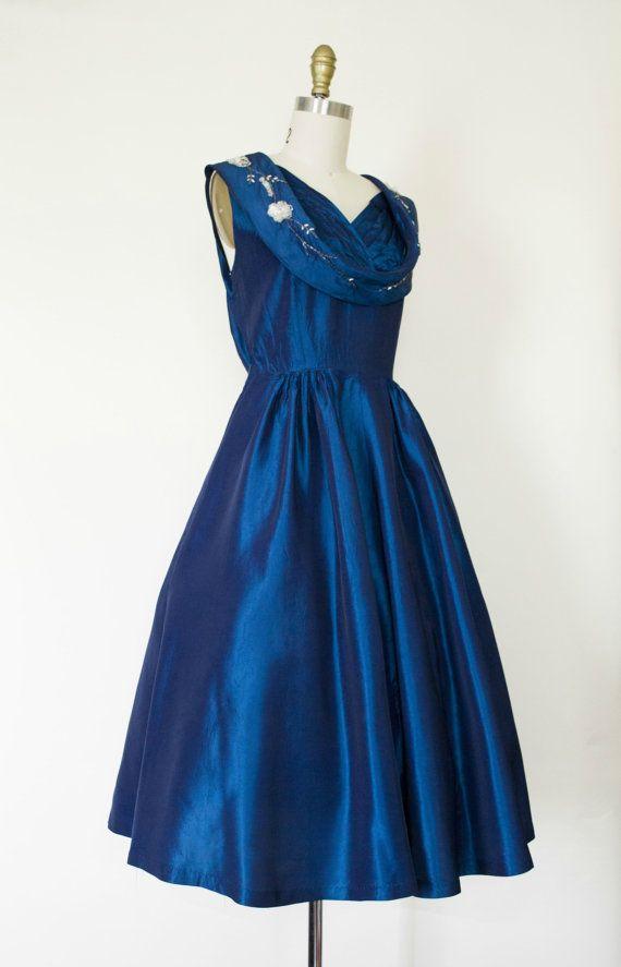 50s beaded cocktail dress . vintage 1950s by VelvetPinVintage