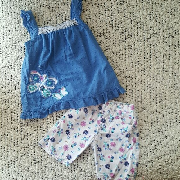 Girls floral butterfly outfit Little girls floral butterfly outfit. Adorable 2pc outfit. New without tags. Perfect for spring and summer. Nunnette Girl Other