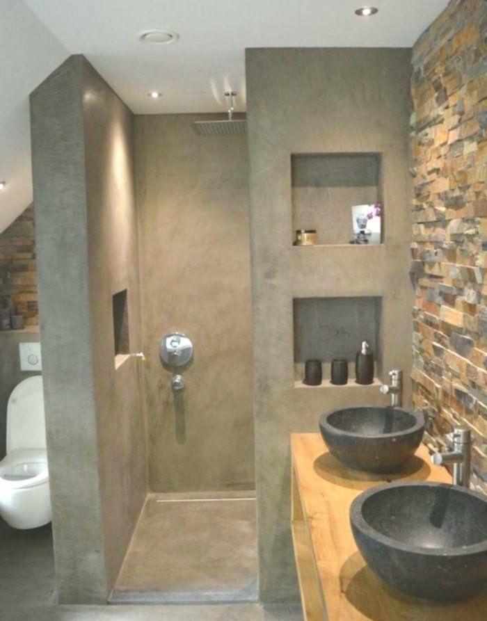 Wachsbetonbad raue Handfläche Archzinefr #badeværelseinspiration