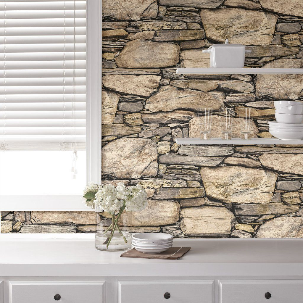 Wallpops Hadrian 3d Ledger Stone Wall Peel And Stick Wallpaper Stone Wall Stone Wallpaper Stone Wall Design