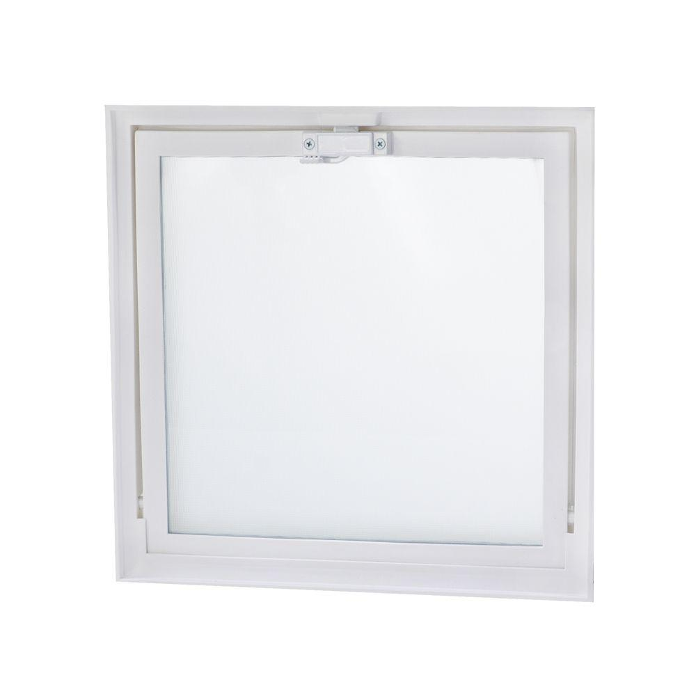 Tafco Windows 15 75 In X 15 75 In Hopper Vent With Screen For Glass Block Windows Vv1616 Glass Block Windows Glass Blocks Glass Block Shower