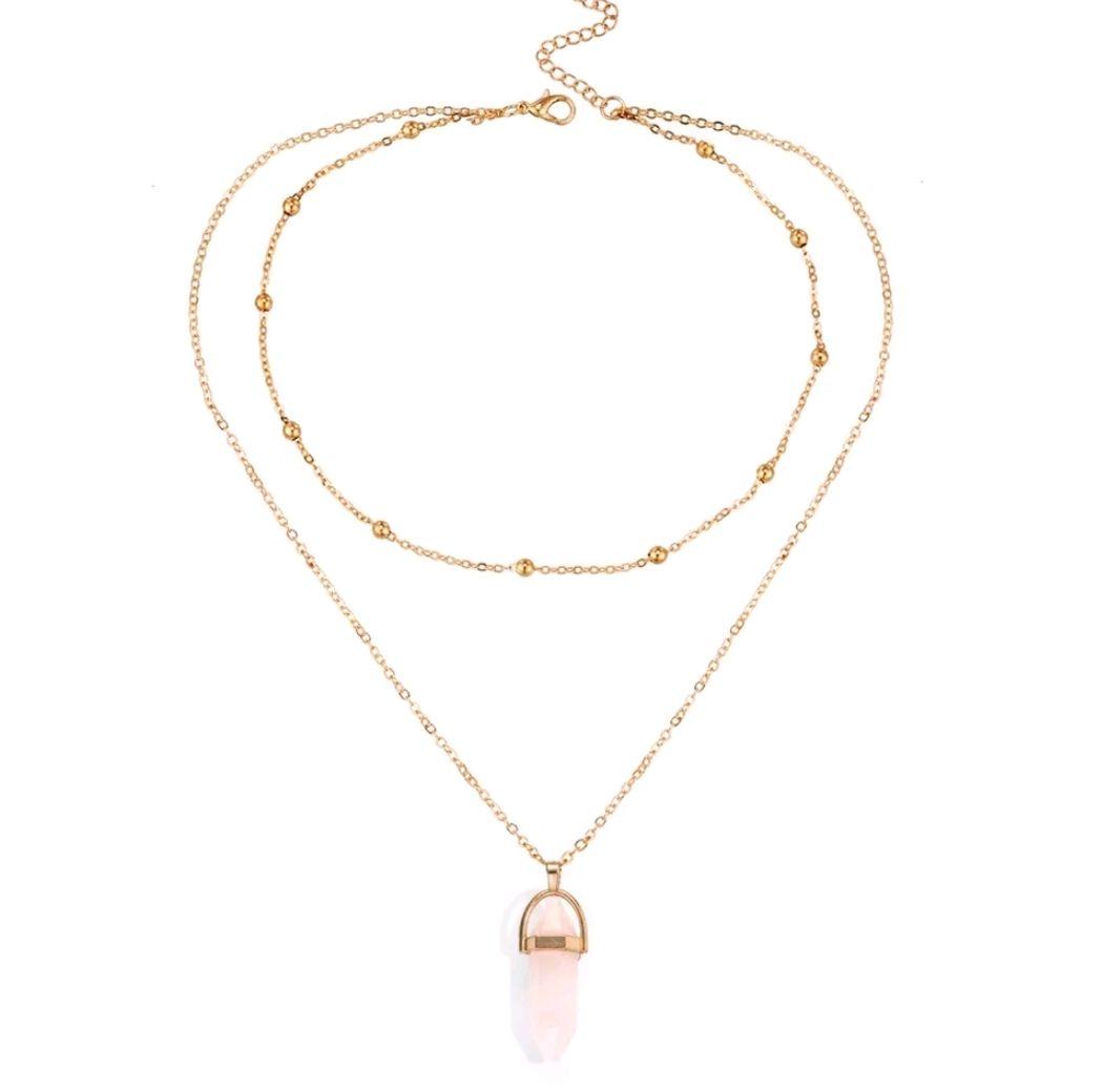 5557bdc23840 Collar gargantilla dorada casual con piedra ópalo rosada  🔱 Cadena dorada.🔅  Color oro