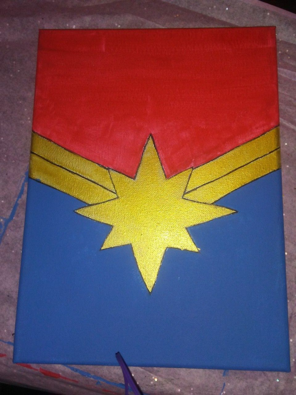 Captain Marvel symbol painting | My edits and paintings in