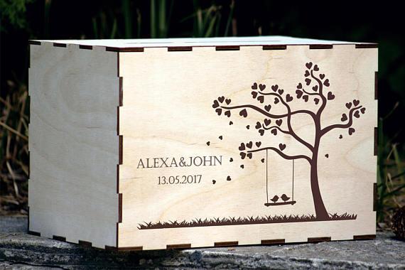 Rustic wedding decorwedding gift card boxwooden boxwishes