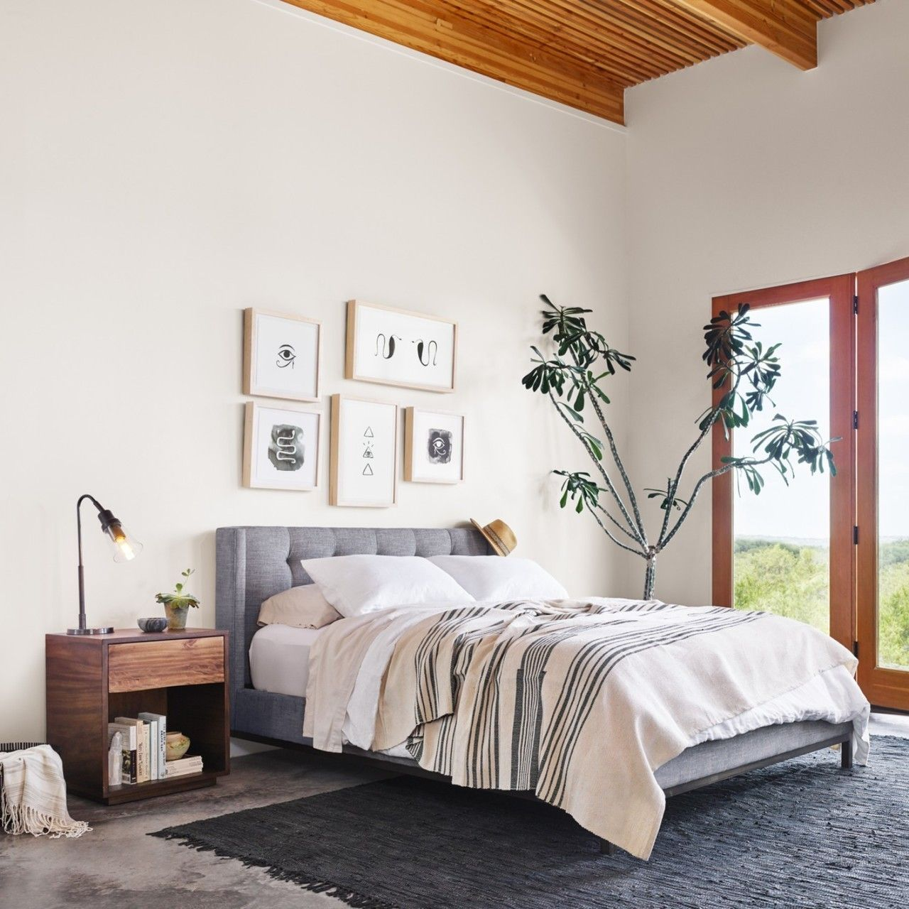 Loft bedroom style  Newhall BoxTufted Gray Fabric Shelter Platform Bed  King  Bedroom