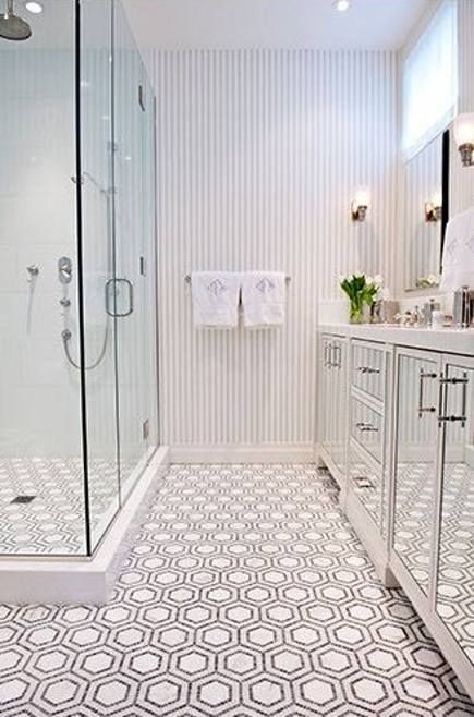 White Bathroom Floor Tile brilliant tile flooring for bathroom 1000 images about ja gt tile Penny Round Mosaic Tiles In Black And White Are Used To Make A Hexagon Pattern On The Floor Of A Small New York Bath Details Like Mirrored Cabinet Doors