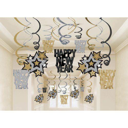 2 Deko-Swirls Happy New Year