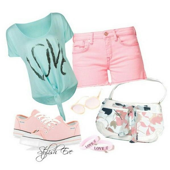 This is a very cute but simple outfit. Perfect for a school day or just to wear on a weekend. With the mixture of teal blue for the top and baby pink for the bottoms and shoes. It goes right together. But on a cute pair of earrings and throw your hit up in a ponytail the outfit with look great.