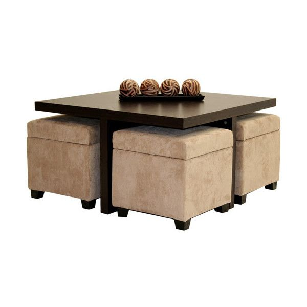 Club Coffee Table with 4 Storage Ottomans, Chocolate and ...