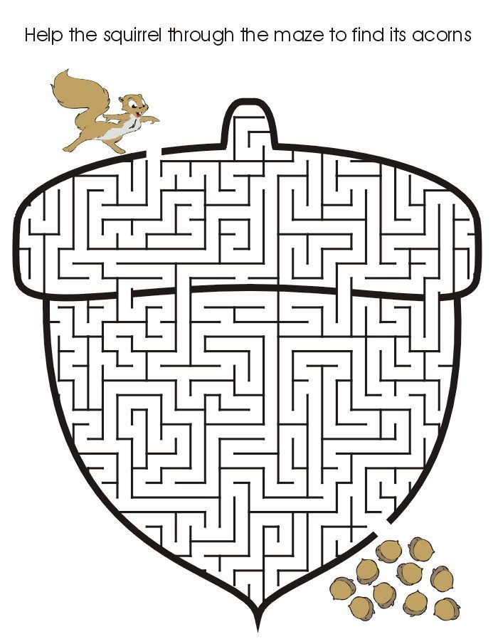 Thanksgiving Puzzles: Squirrel acorn maze fall activity printable ...
