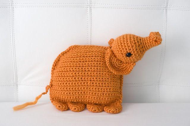 El elefante almohada naranja - #amigurumi - Pillow elephant