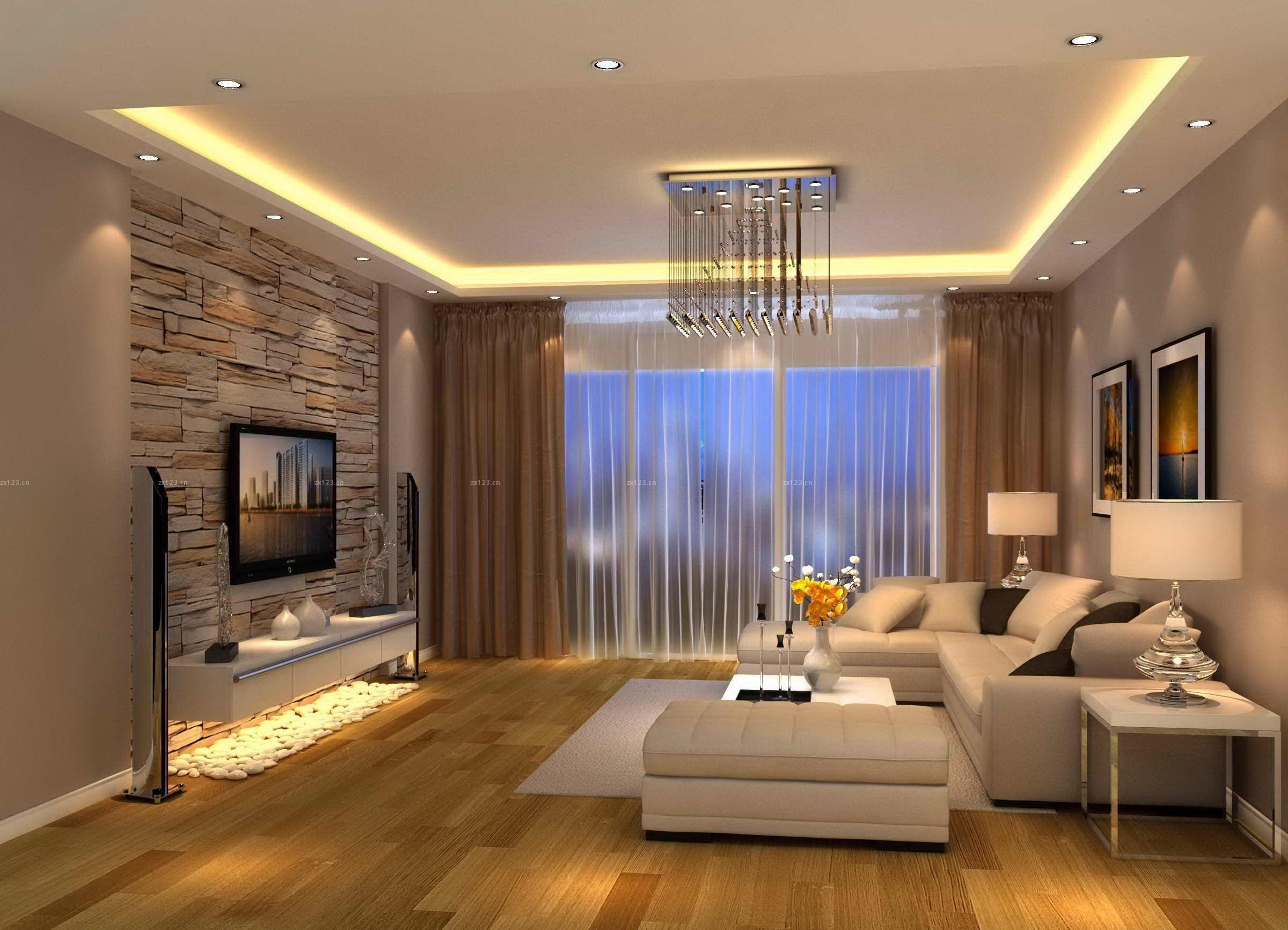 Modern living room brown design tv room livin - Modern curtain ideas for living room ...