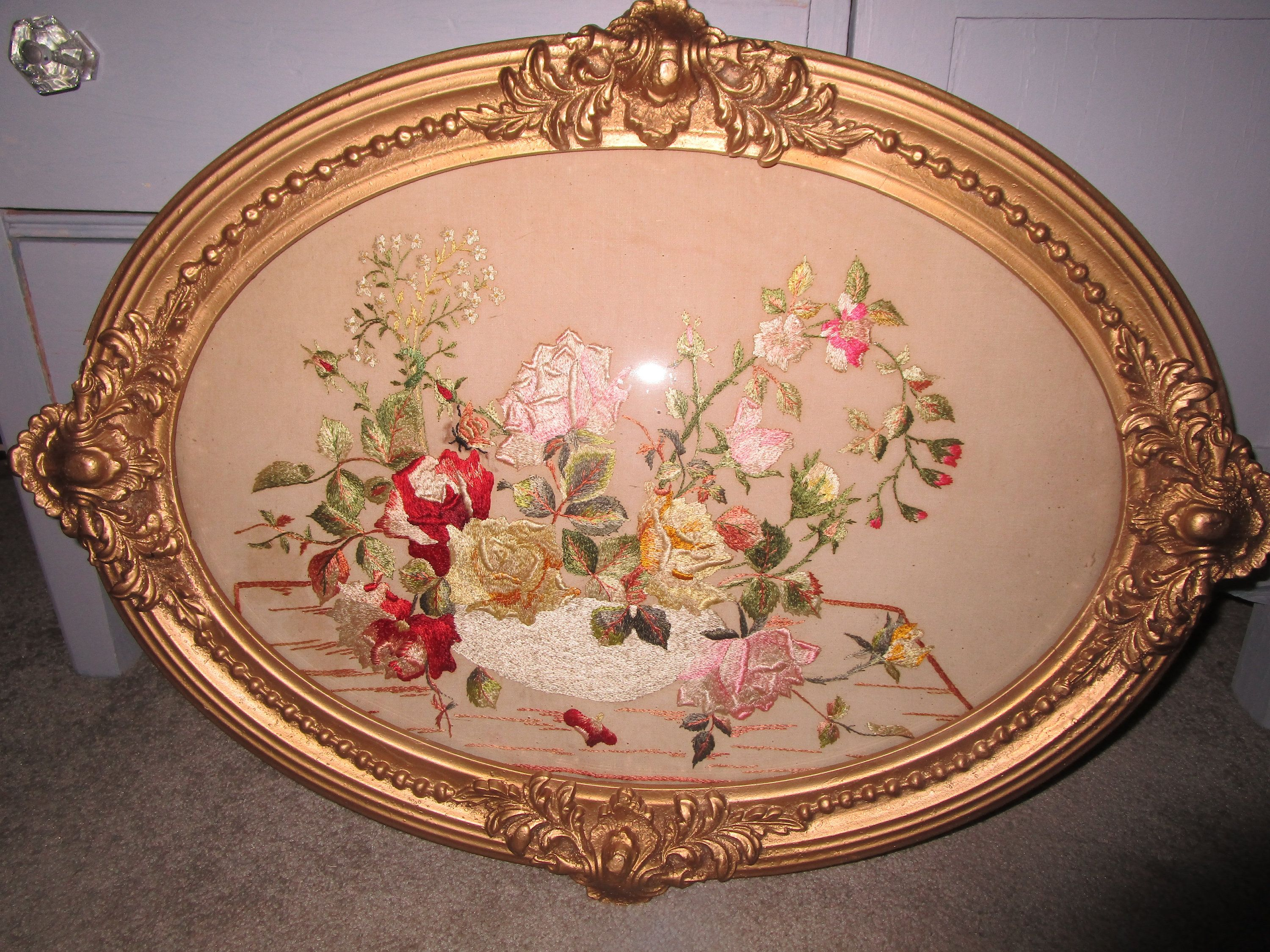 Reduced Antique Framed Silk Embroidery Antique Wall Decor Etsy Antique Wall Decor Antique Frames Bubble Glass