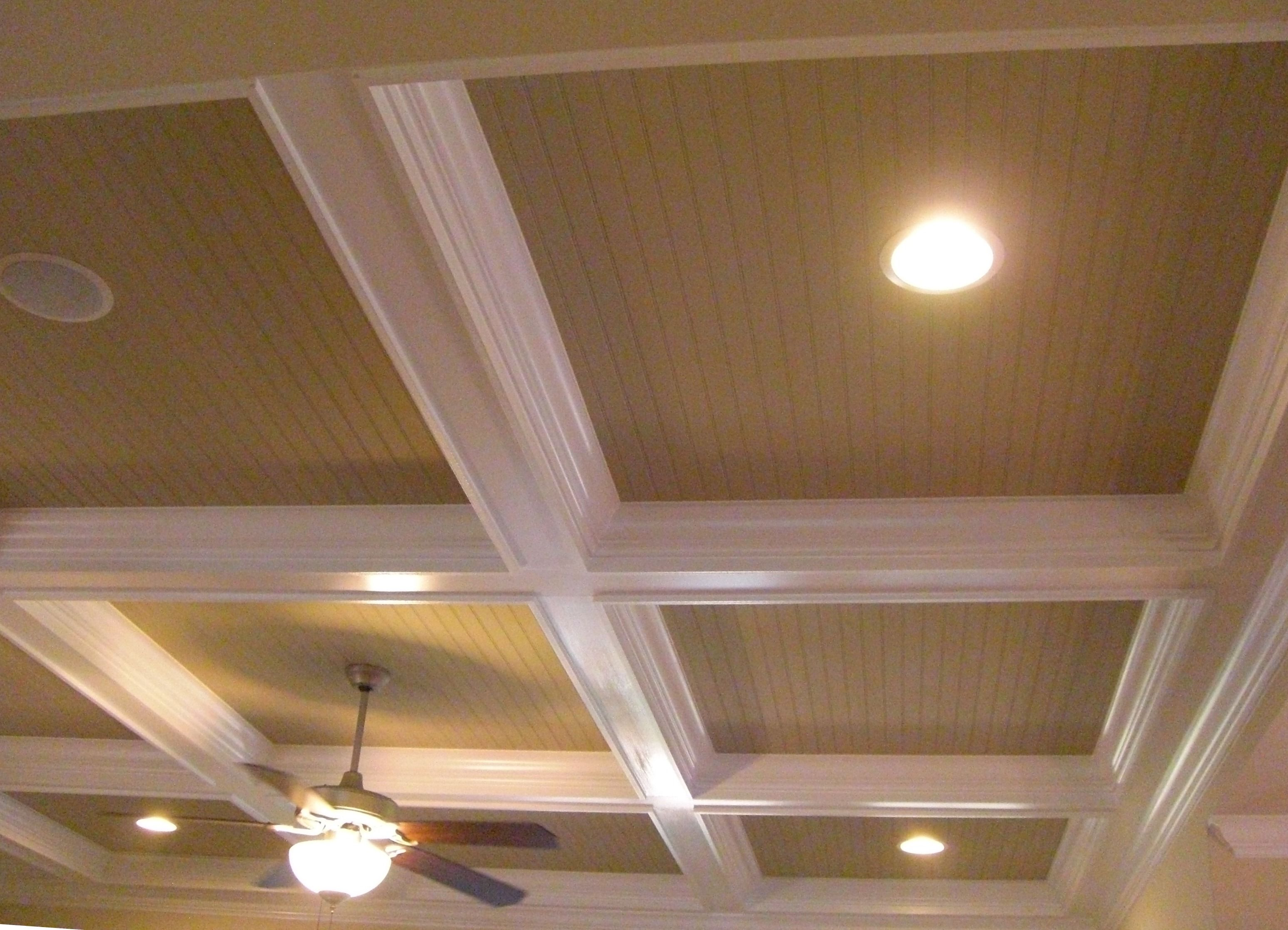 Beadboard in coffered ceiling lights and built in for Coffered ceiling plans