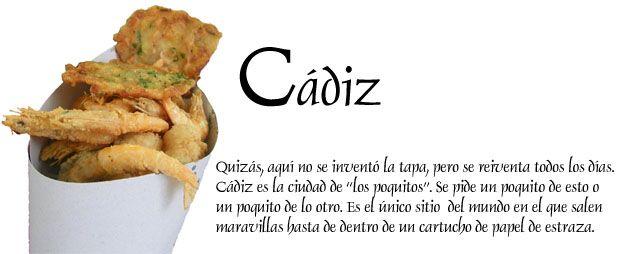 Muchos estareis hoy en Cádiz y necesitareis un apoyo importante para elegir a que bar vais a tomar unas tapitas. La guía gastronómica de Cádiz os servirá de ayuda. Está en tecnicolor y advierto que hay imágenes impactantes. http://www.cosasdecome.es/guias-gastronomicas-por-ciudades/cadiz/