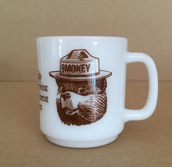 Glasbake SMOKEY BEAR Coffee Mug - Only you can prevent forest fires | Mugs, Coffee mugs, Glassware