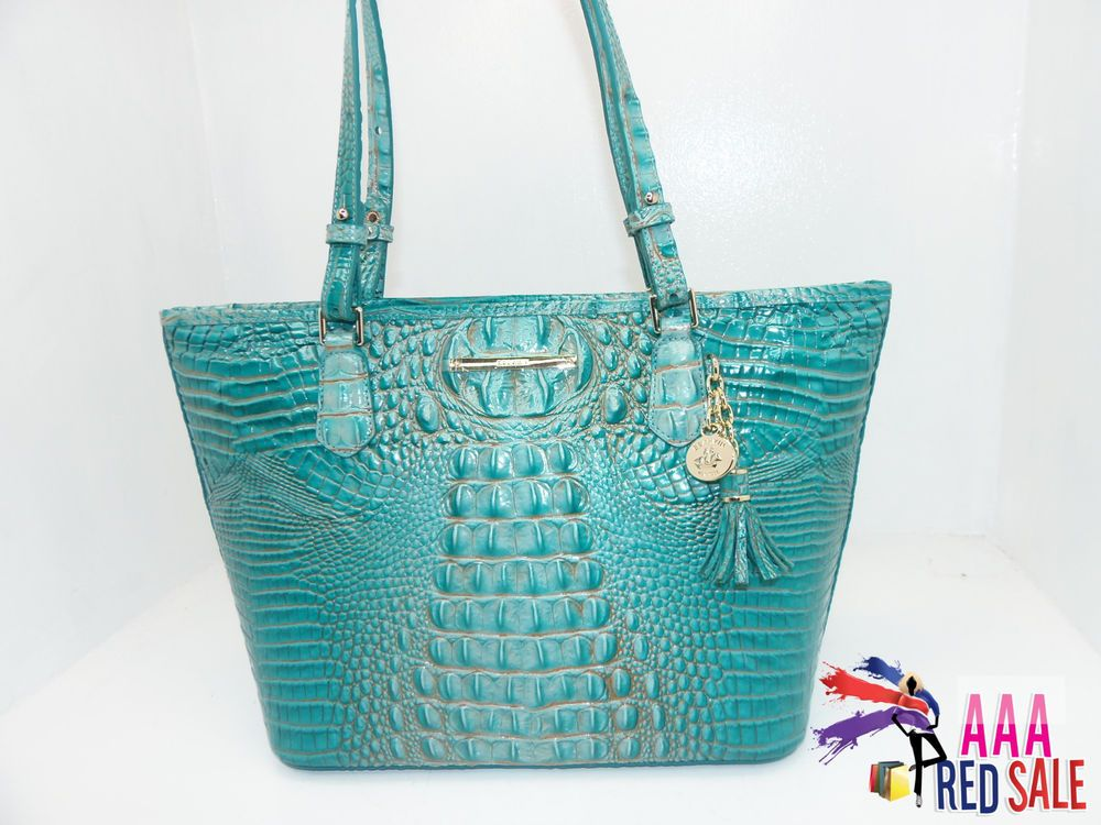 04c3909ab695 NWT New Brahmin Handbag Medium Asher Tote Bag Turquoise Melbourne Leather  Purse  purses  fashion